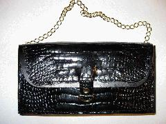 Glazed Black Alligatrix Flap Bag Front Closed.JPG